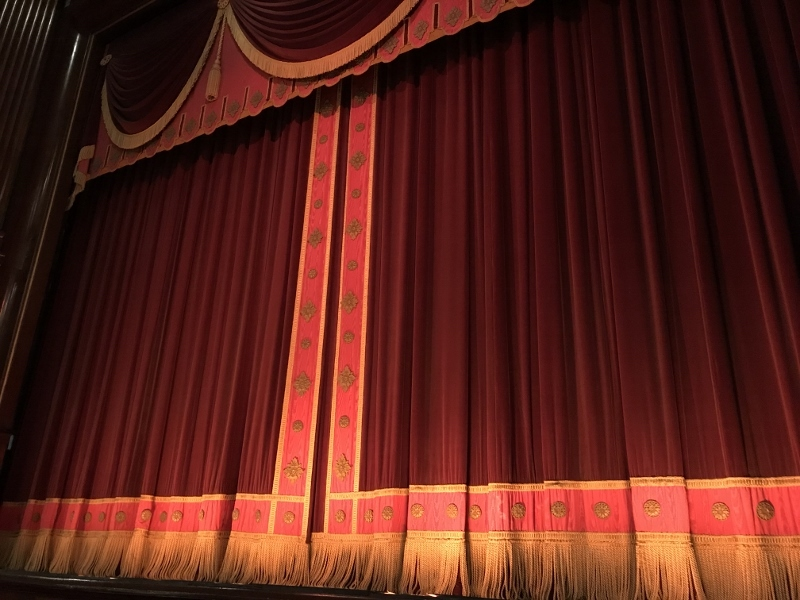The fabulous stage curtain in St. Martin's Theatre