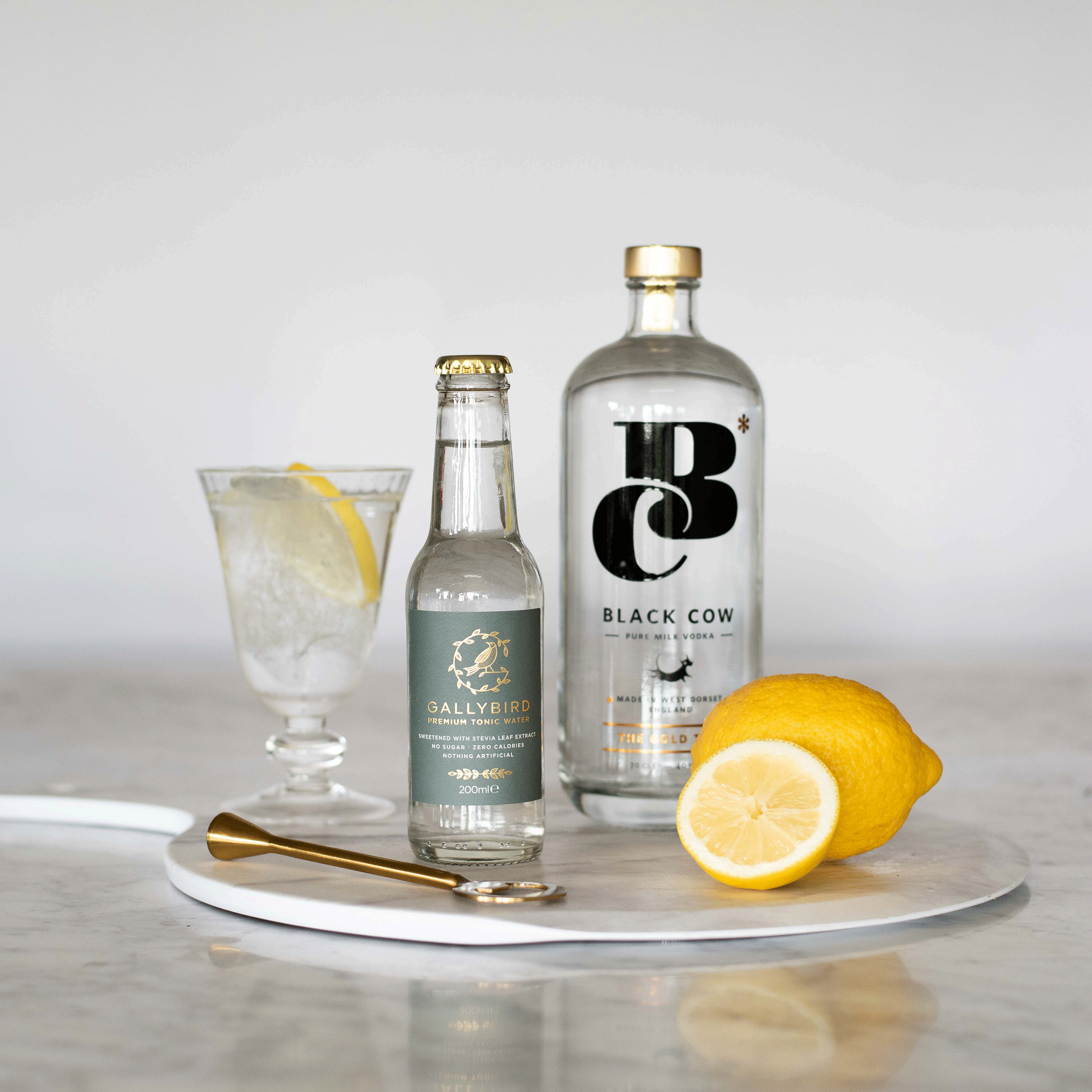 Gallybird and Black Cow Premium Vodka - We love this unusual and delicious vodka made from whey, the excess produced from the cheese making process. Gallybird does not overpower but allows the soft flavours of this unique vodka shine though. Pour over ice with a slice.