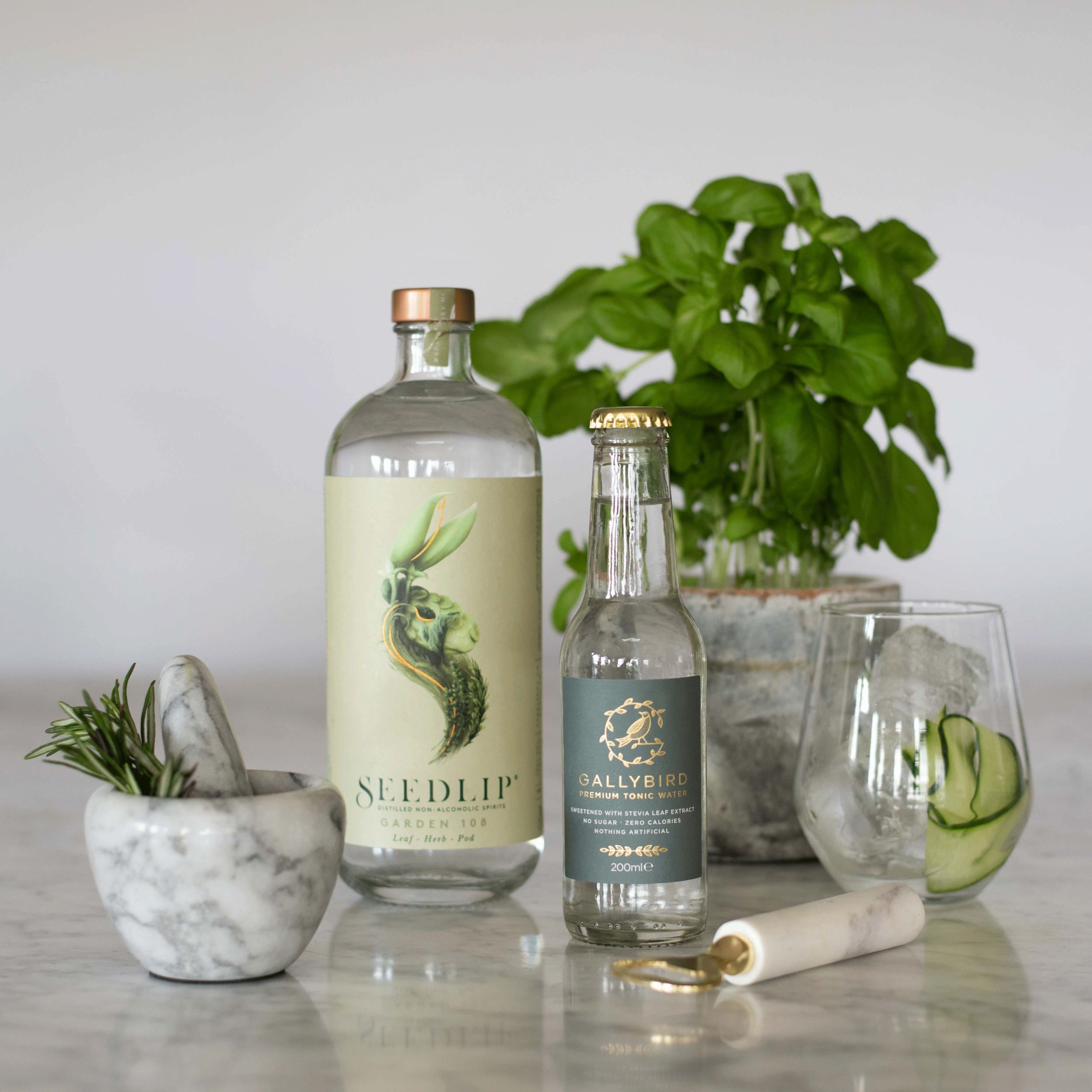 Gallybird and Seedlip - Our suggested non alcoholic spirit of choice. Pour a healthy measure of Seedlip garden 108 over lots of ice, add Gallybird and a ribbon of cucumber plus a leaf or two of basil. This is what to drink when you're not drinking! Lean, clean and a green cocktail with no sugar and zero Calories.
