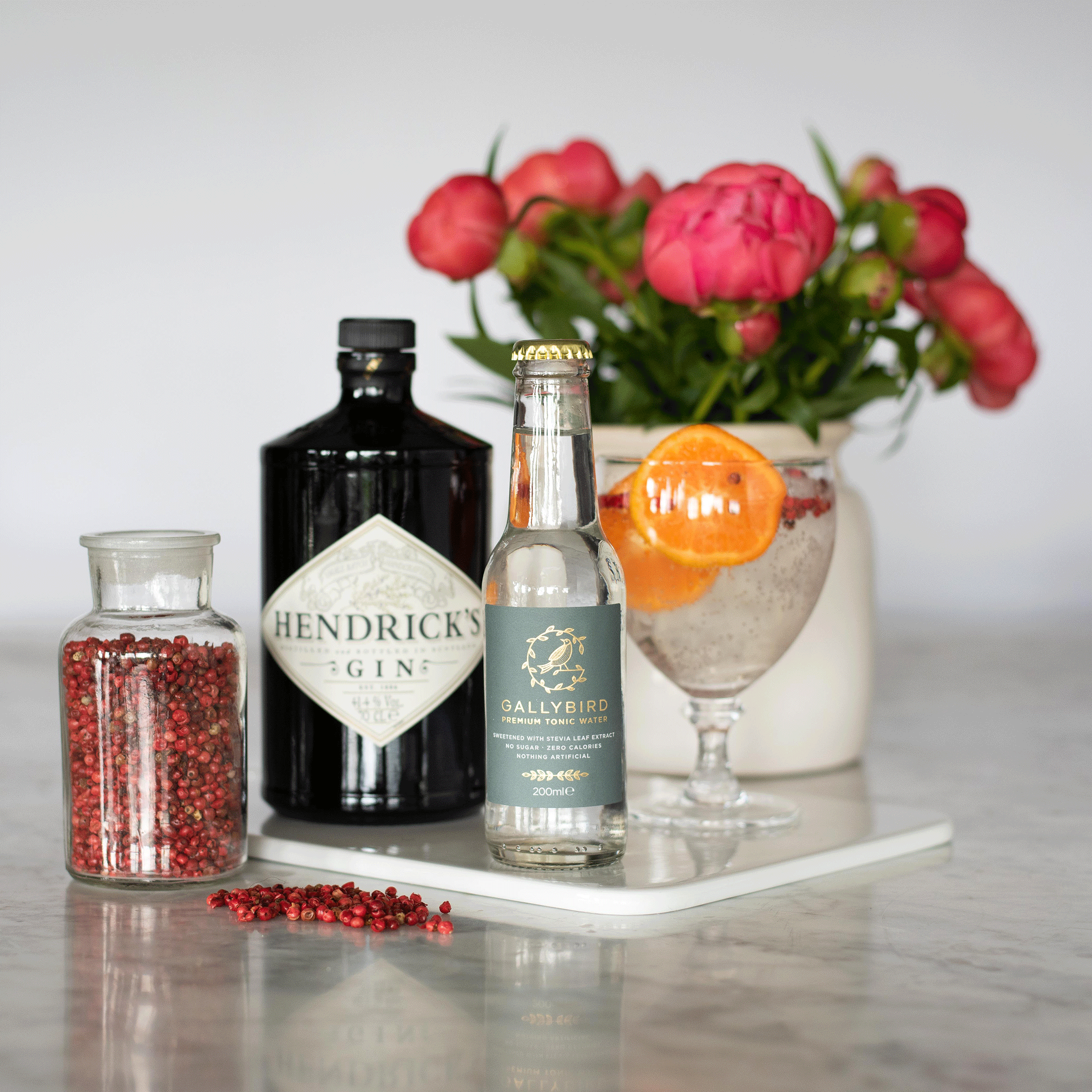 Gallybird and Hendricks Gin - Hendricks has an unusual flavour and method of distilling that Gallybird enhances and allows you to enjoy poured over ice with a couple of slices of orange and a scattering of pink peppercorns.