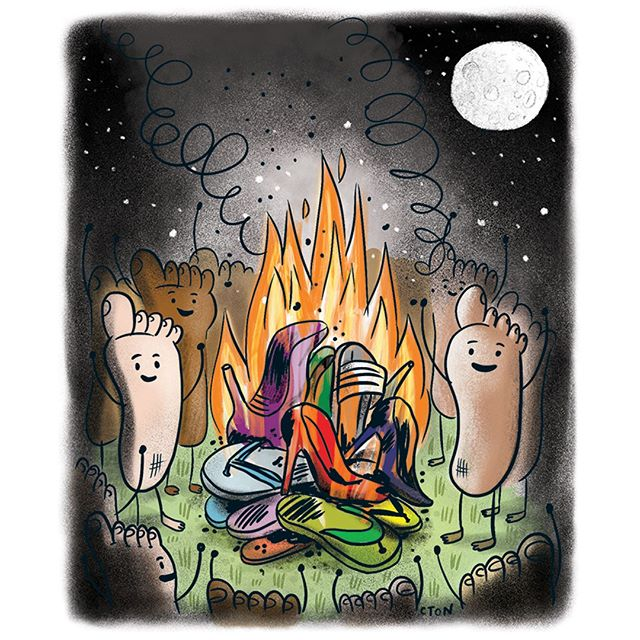 Burn baby burn! Be kind to your feet and liberate them from terrible footwear! Also make sure to check out '13 Things Your Feet Wish You Knew' in the June issue of @readersdigestca! #foothealth #saynotoflipflops #ReadUpCanada . As always, a big thanks to AD @_johnmontgomery  & Assoc AD @daniellesayer . . . .  #claytonhanmer #cton #illustration #torontoillustration #claytonhanmerillustration #comics #editorial #editorialillustration #jokes  #ReadersDigest #ReadersDigestCanada #13Things #health
