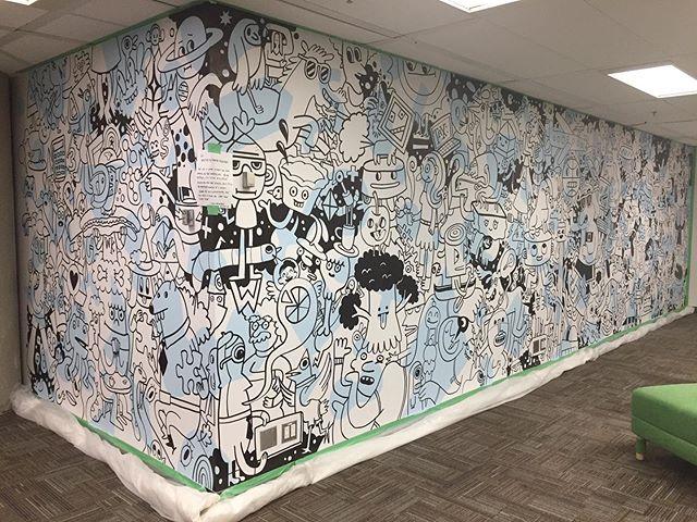 Day 3... en-blackening begins! Latest @triomagnus mural @wolterskluwer.canada #accountingrules #halfdone . . . #mural #muralart #torontoillustrator #accountants #cloud #awesome