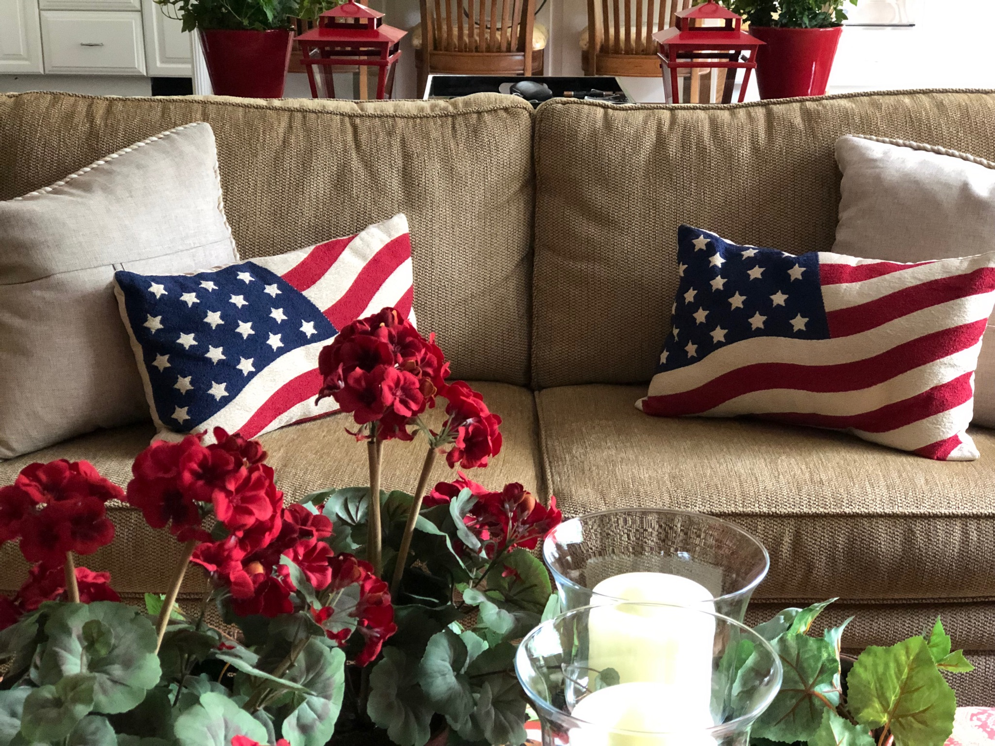 Red, White And Blue Flag Pillows for the sofa