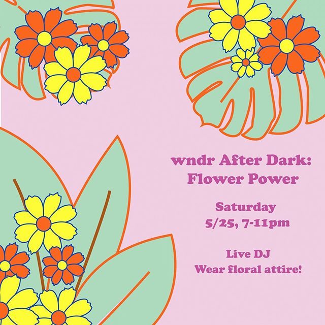 🌸SATURDAY NIGHT🌸 Join us for the last wndr After Dark of the month! Wear your best floral outfit, dance to a live DJ under vibey lighting, and get the entire immersive wndr experience. The After Dark party on 5/25 starts with the 6:30pm tickets, and last ticket entry is 10pm. Tickets in bio—  @wndrmuseum #wndrmuseum