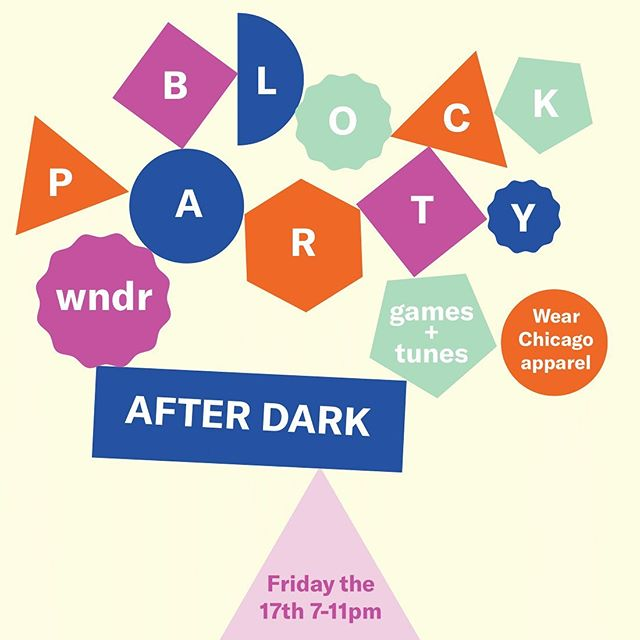 wndr After Dark parties are back for Chapter 2! ✨ Next Friday and Saturday, we have a live DJ playing tunes from 7-11pm, plus fun extras to go with each night's theme. ✨ Friday night, it's wndr After Dark: Block Party! ✿ Wear Chicago apparel ✿ Enjoy block party-style games ✿ Get the entire wndr experience ✨ Saturday night, it's wndr After Dark: Camp wndr! ✿ Wear tie dye ✿ Enjoy nostalgic camp-style games ✿ S'mores! ✿ Get the entire wndr experience Buy tickets at the link in our bio—  @wndrmuseum #wndrmuseum