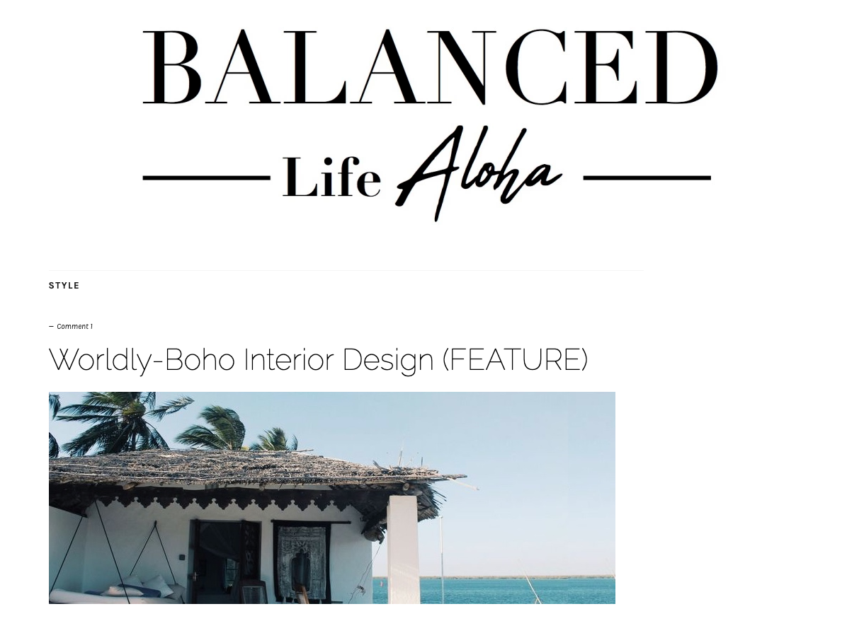 WORLDLY- BOHO INTERIOR DESIGN - BALANCED LIFE ALOGA