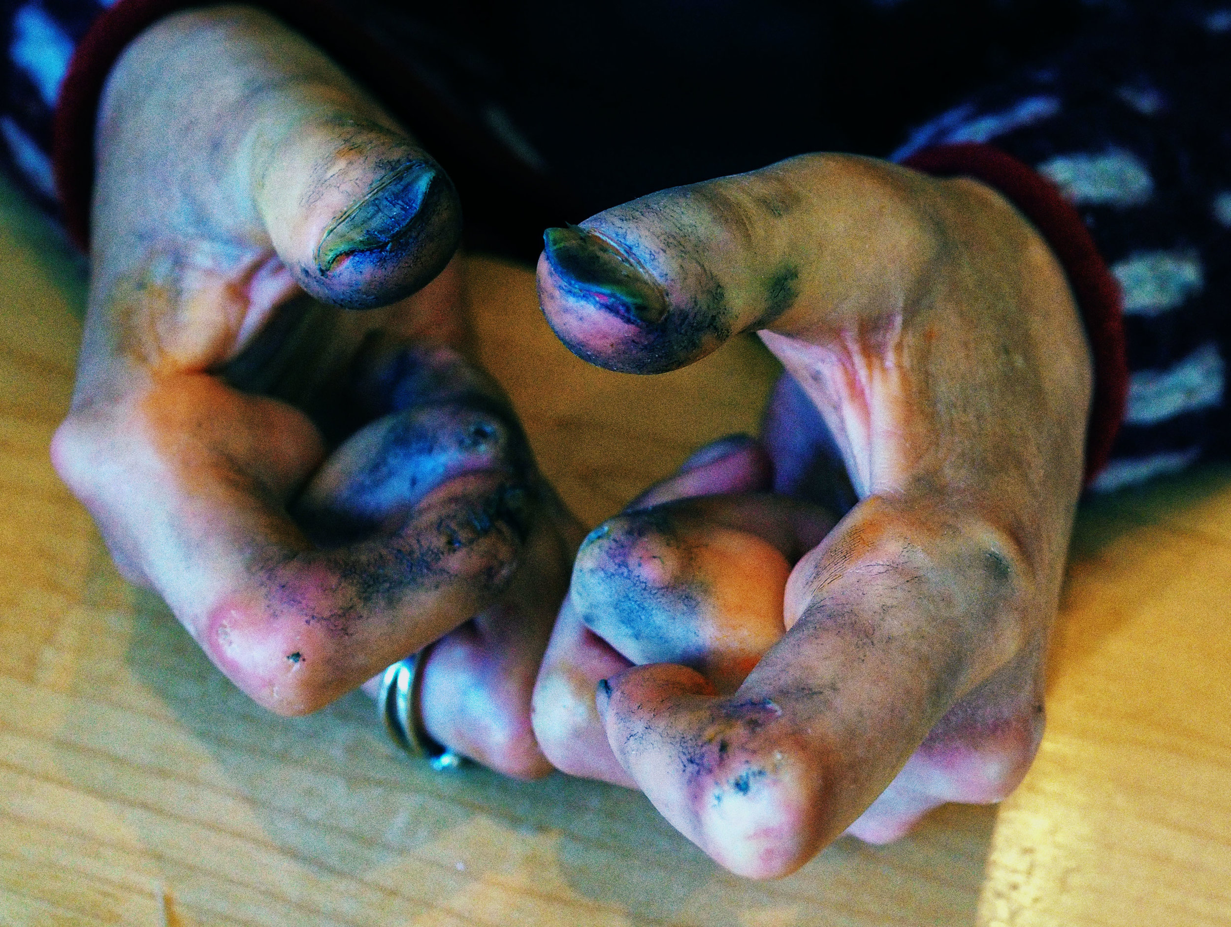 My ink-covered hands fully extended   Photo credit  Katinka Neuhof