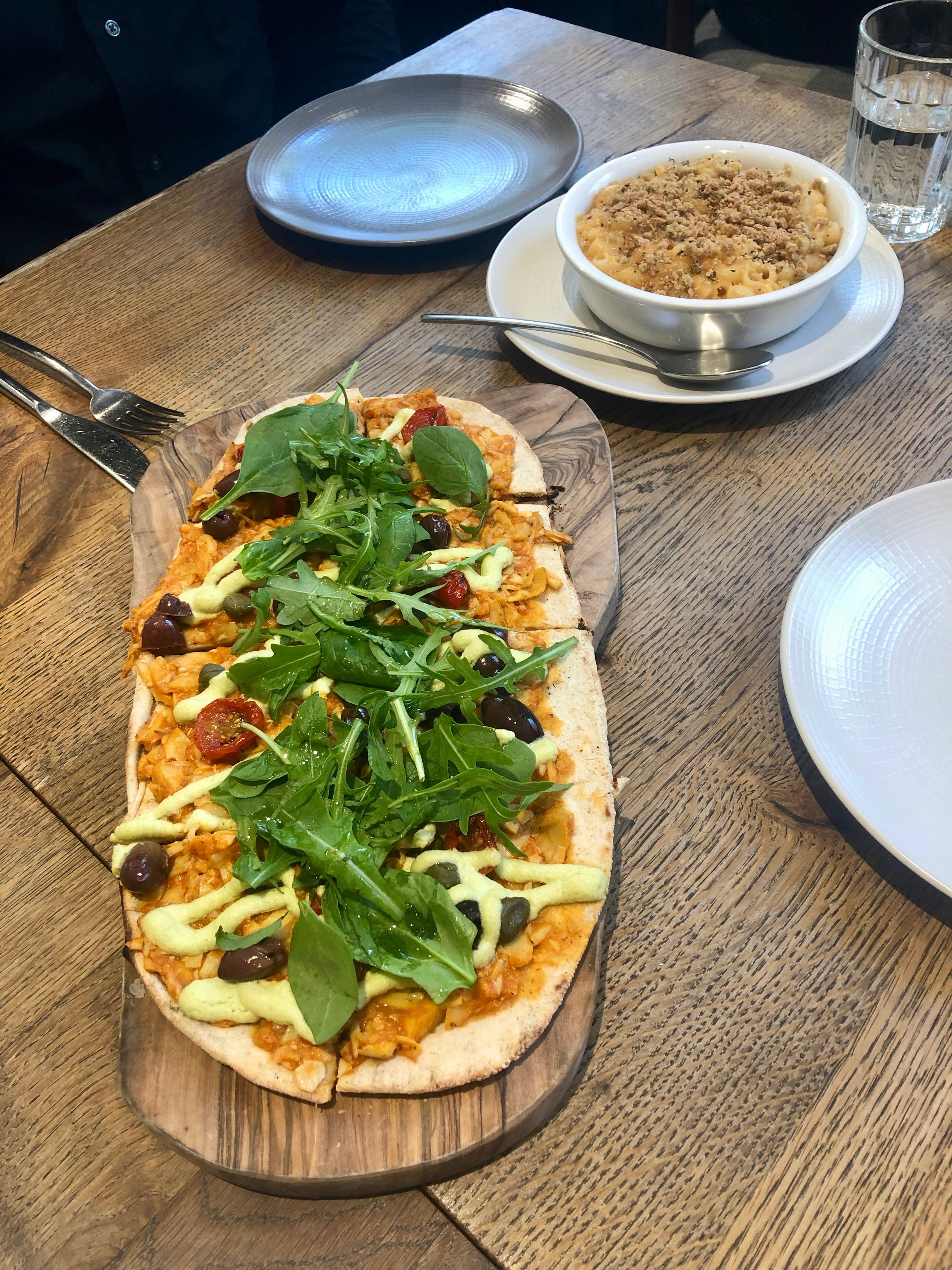Artichoke and black olive pizzetta and house mac & cheese @ Farmacy, May 2019