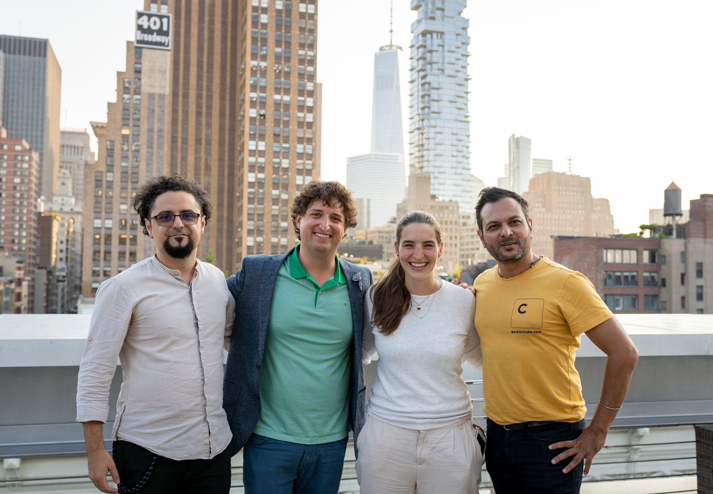 Fall 2019 Co-Founders - From left: Dragos Badea, Co-Founder of YArooms, Tom Winter, Co-Founder of Devskiller, Nina Hoedlmayr, Co-Founder of Yodel, and Satyen Kothari, Founder of Cube