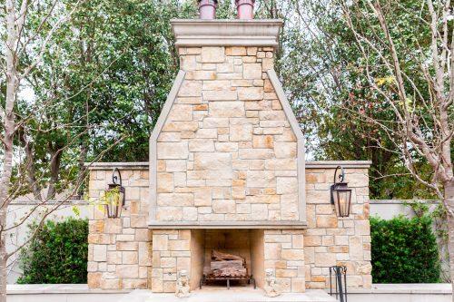 Outdoor fireplace designed by Lanson B. Jones & Co.