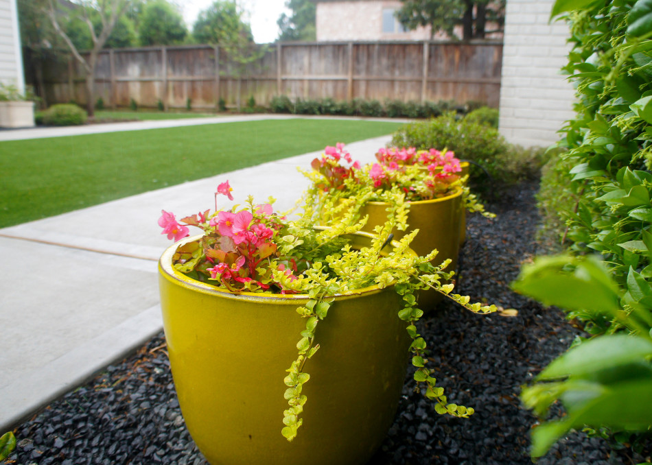 Container garden offers the homeowner a place to excercise her green thumb.
