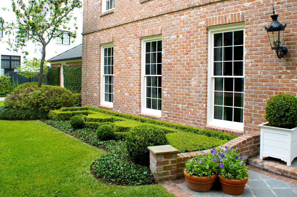Formal english hedges frame the front of the home. The geometric shape is reminiscent of european parterre gardens with its symmetrical patterns and tightly clipped asian jasmine edging. Terra cotta pots hold purple petunias.