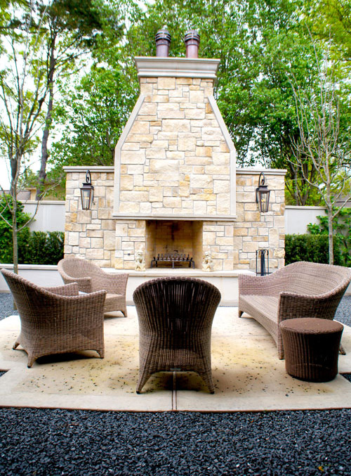 Left:  Formal outdoor courtyard seating.