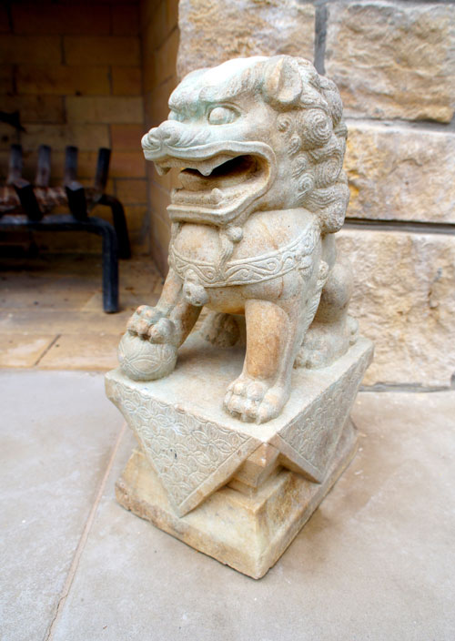 Right:  Close up of lion statuary.