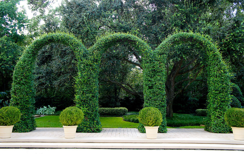 Grand ivy-covered arches mirror container-grown boxwood spheres beside the pool.
