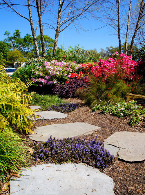 Left: This private garden boasts an array of color and offers a tranquil setting for meditation and prayer.