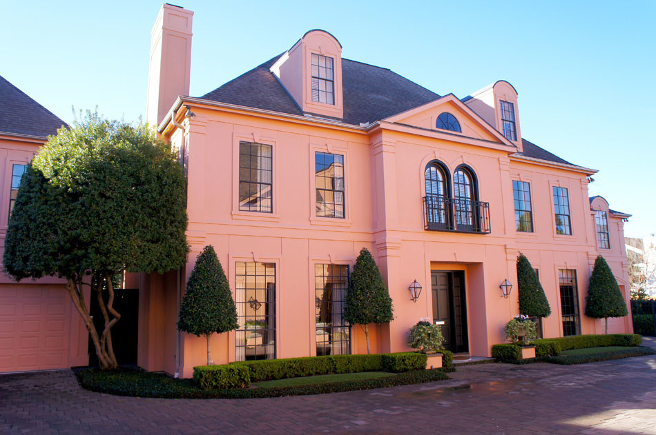 Classic pink French home with European gardens.