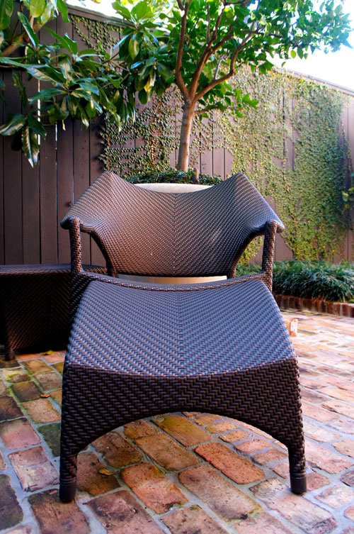 Left:  Woven lounge seating in traditional english landscape.