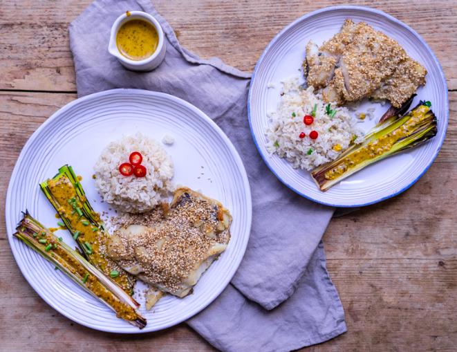 Sesame Crusted Cod with Leek Vinaigrette