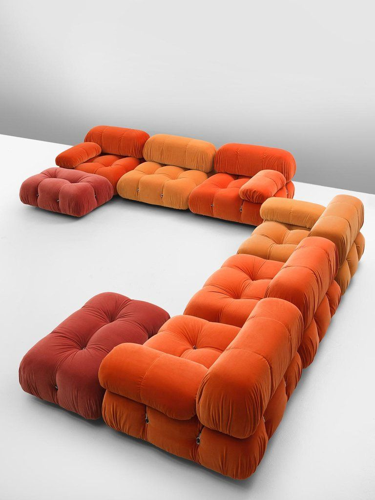 Mario Bellini, 'Camaleonda' sofa, in orange upholstery by Italy, 1972.This sofa is made on request in our upholstery atelier. The sectional elements this sofa was made with, can be used freely and apart from one another. The backs and armr. 120.jpg