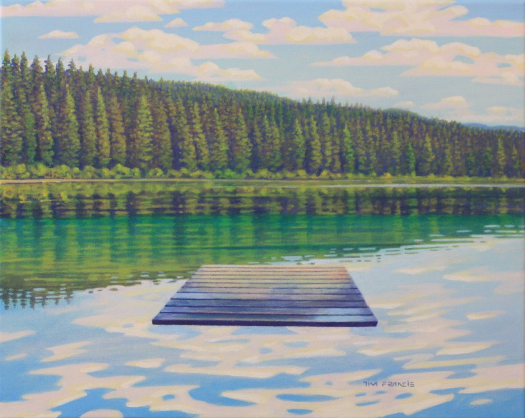 "Kentucky lake calm - 2018, Acrylic on canvas, 16x20"" Private collection, Kamloops, BC"
