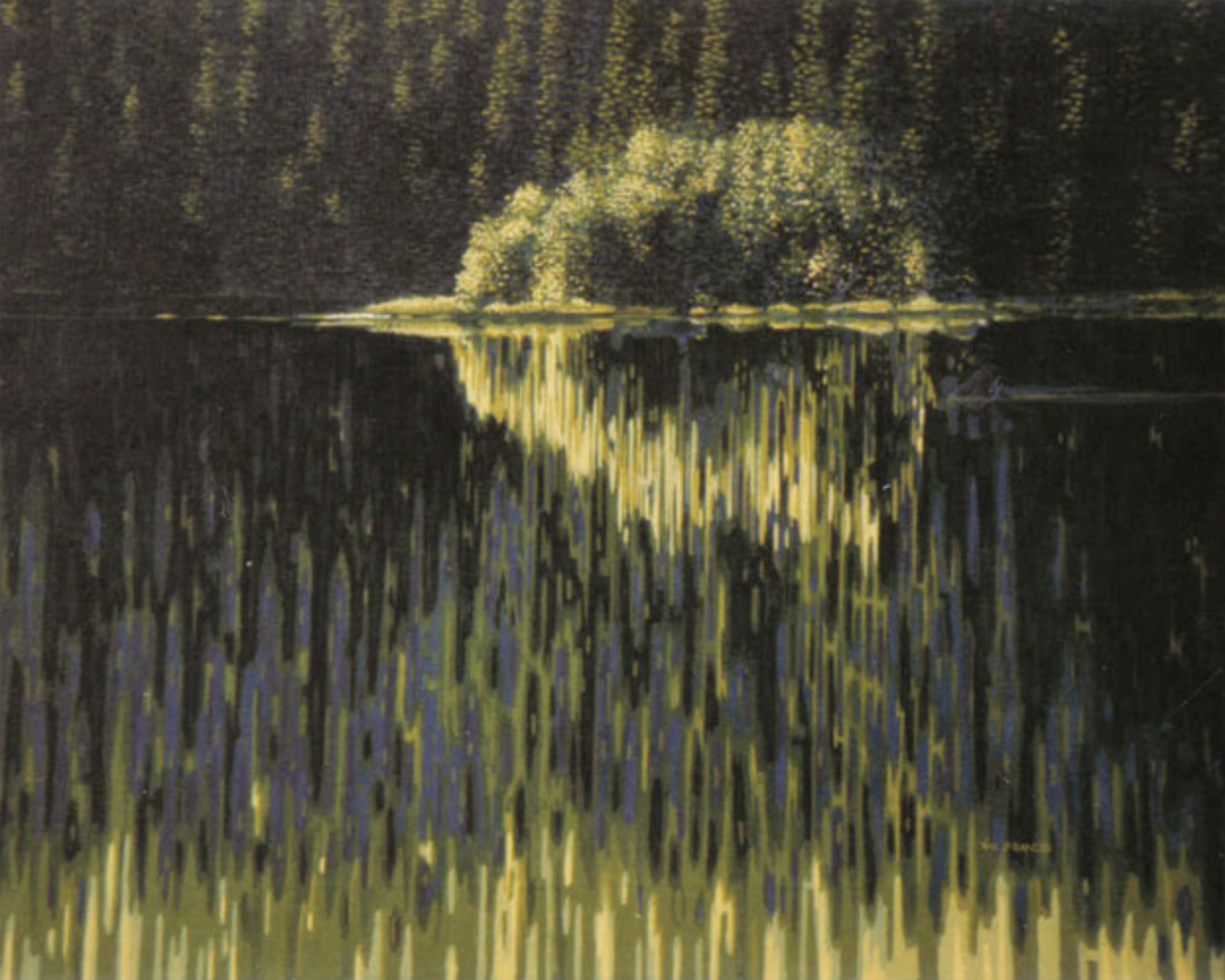 "south barriere lake - 1985, Acrylic on canvas, 16x20"" Private collection, Victoria, BC"