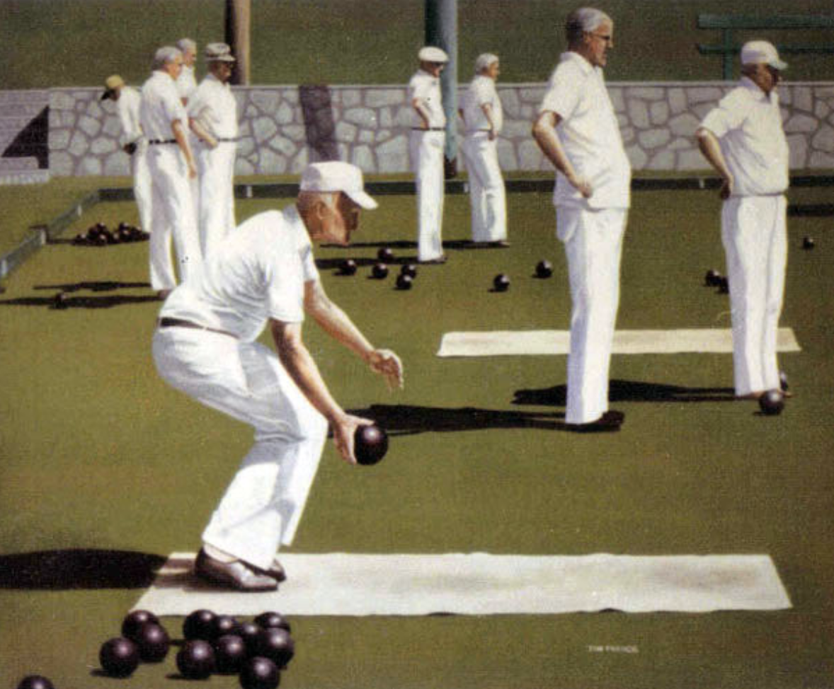 "lawn bowlers - 1976, Acrylic on canvas, 18x24"" Private collection, Vancouver, BC"