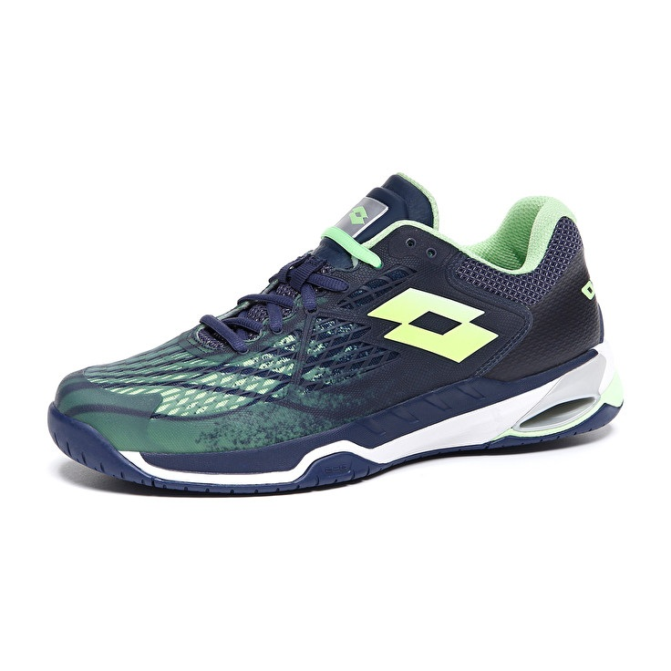 Mirage 100 Speed tennis shoe navy blue-green apple neon-silver metal 2 (2).jpg