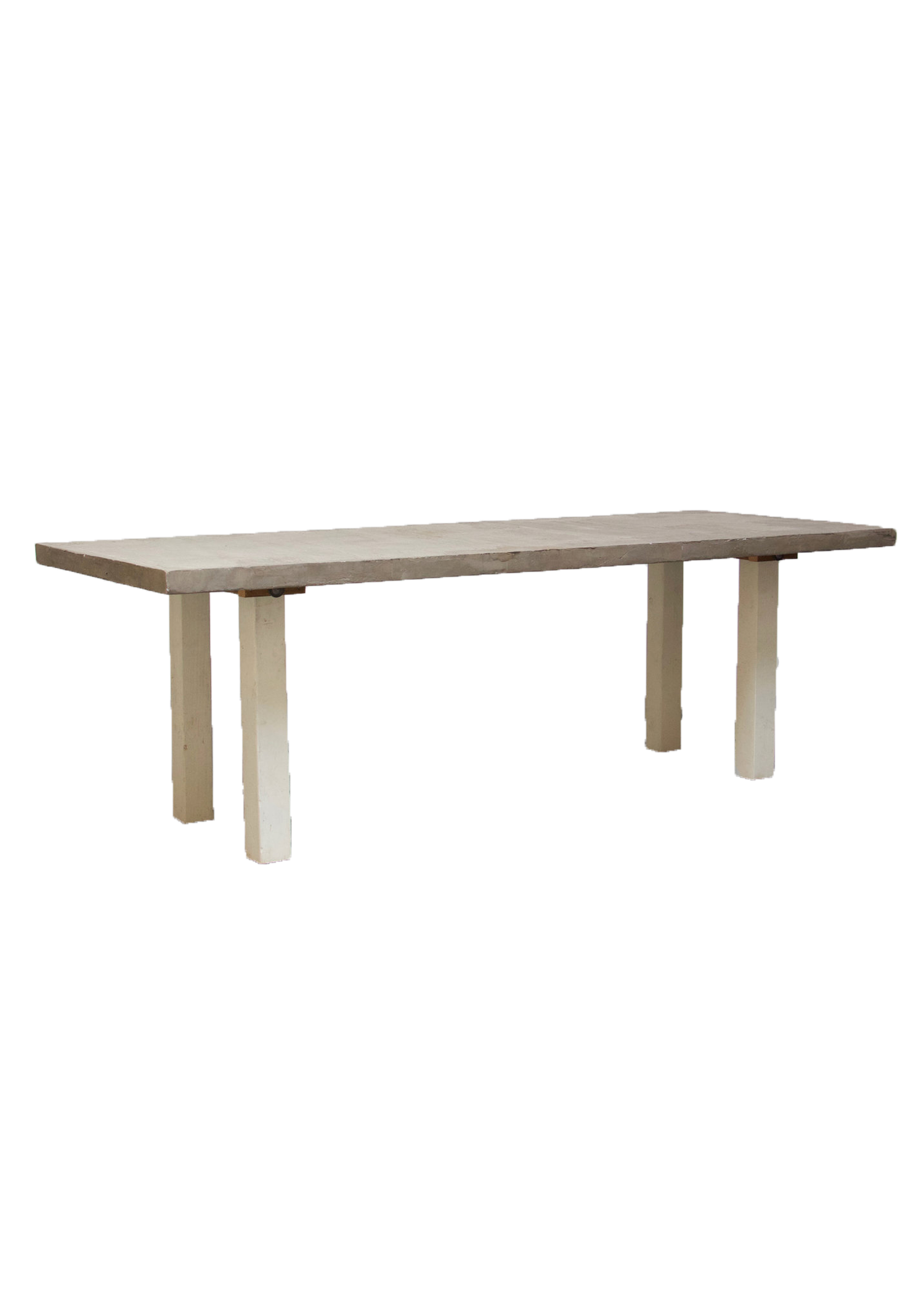 Concrete 8ft Table with Vintage White Legs