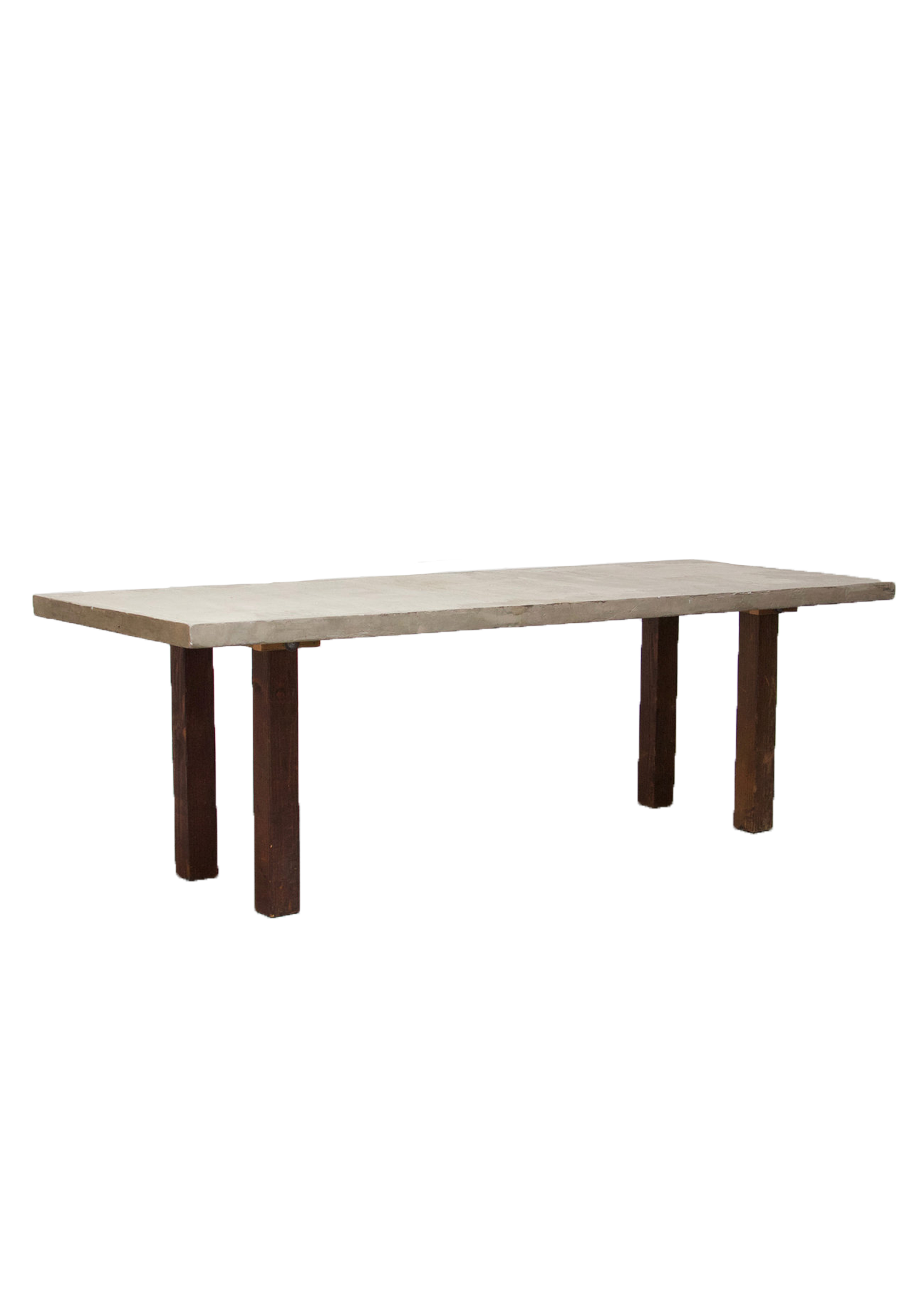 Concrete 8ft Table with Mahogany Legs
