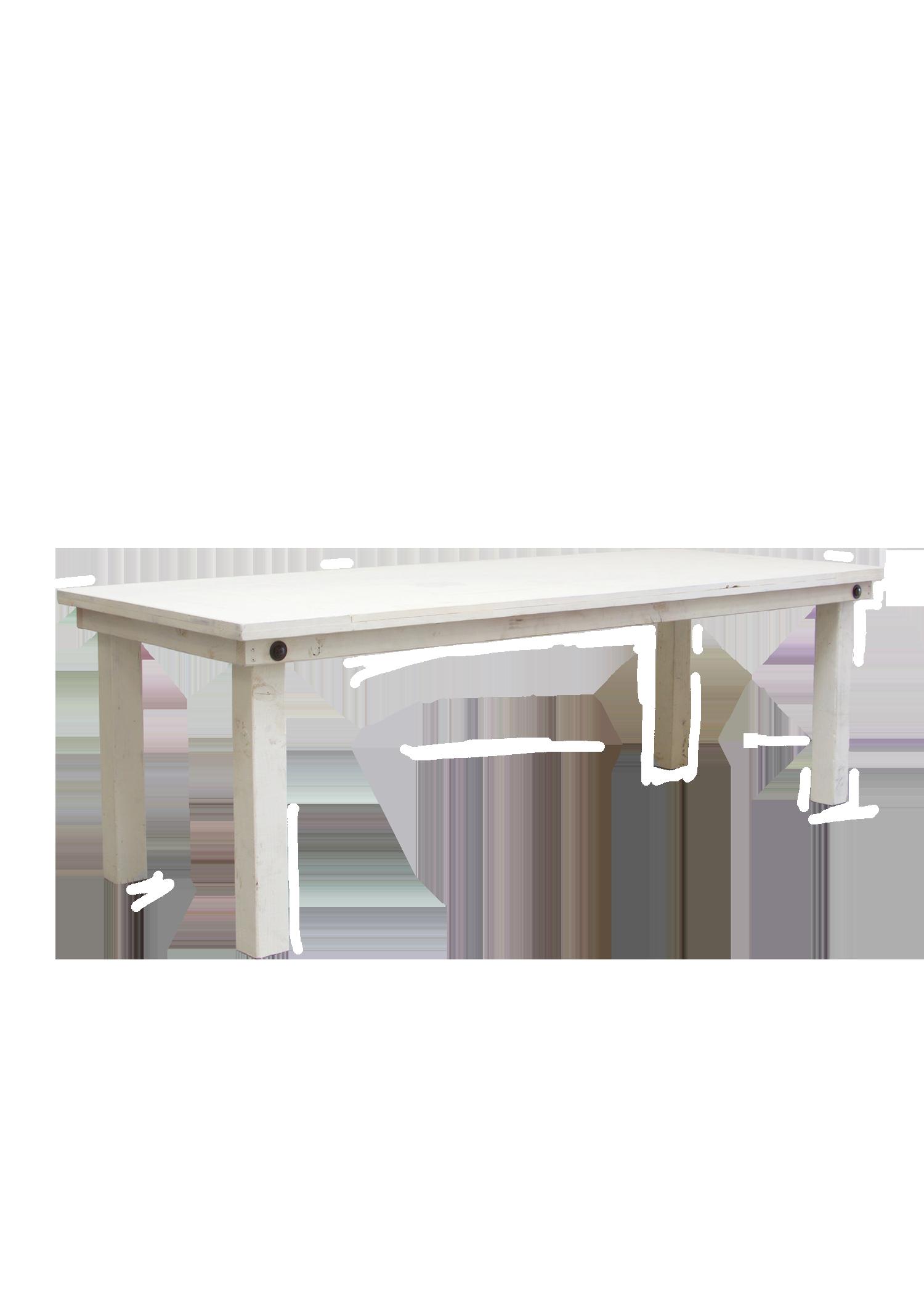 Vintage White 8ft Farm Table
