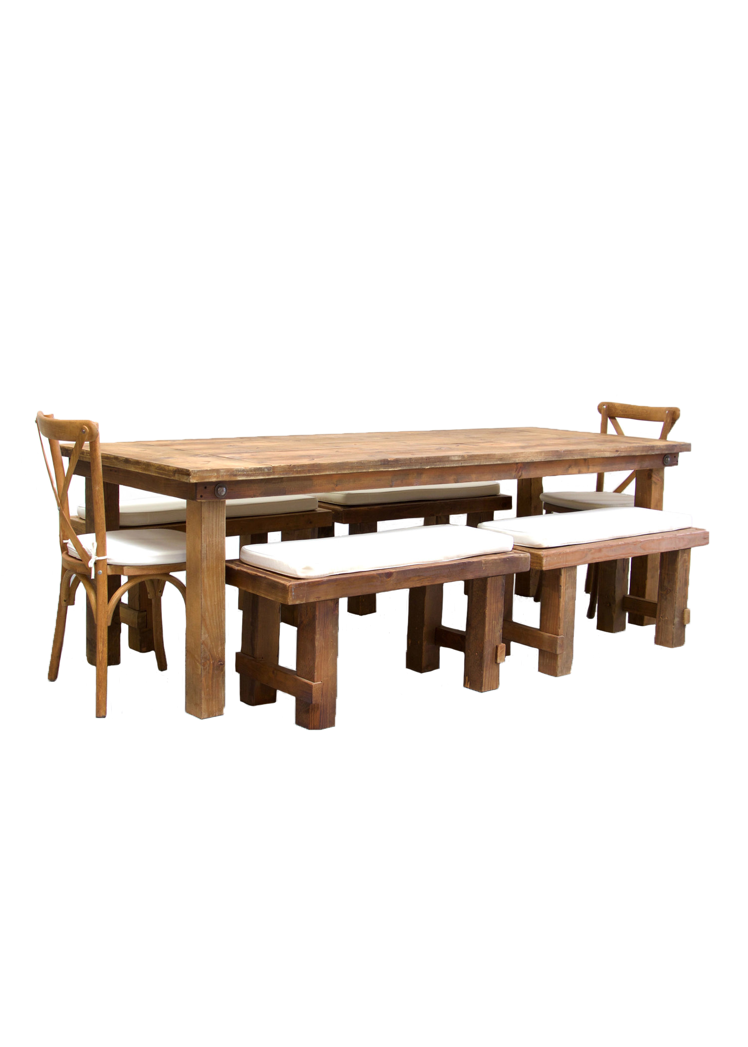 Honey Brown Farm Table with 4 Short Benches & 2 Cross-Back Chairs $160