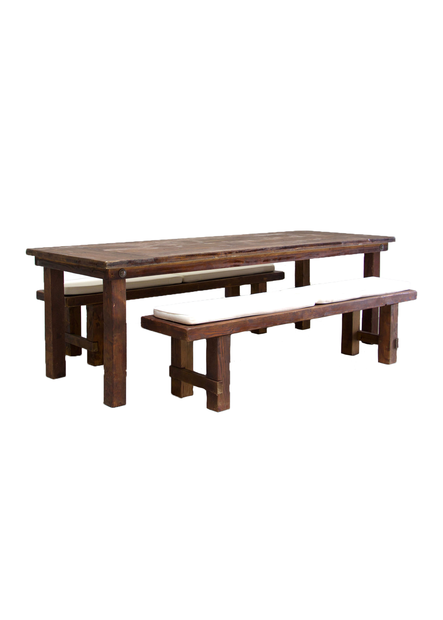 Mahogany Farm Table with 2 Long Benches $145