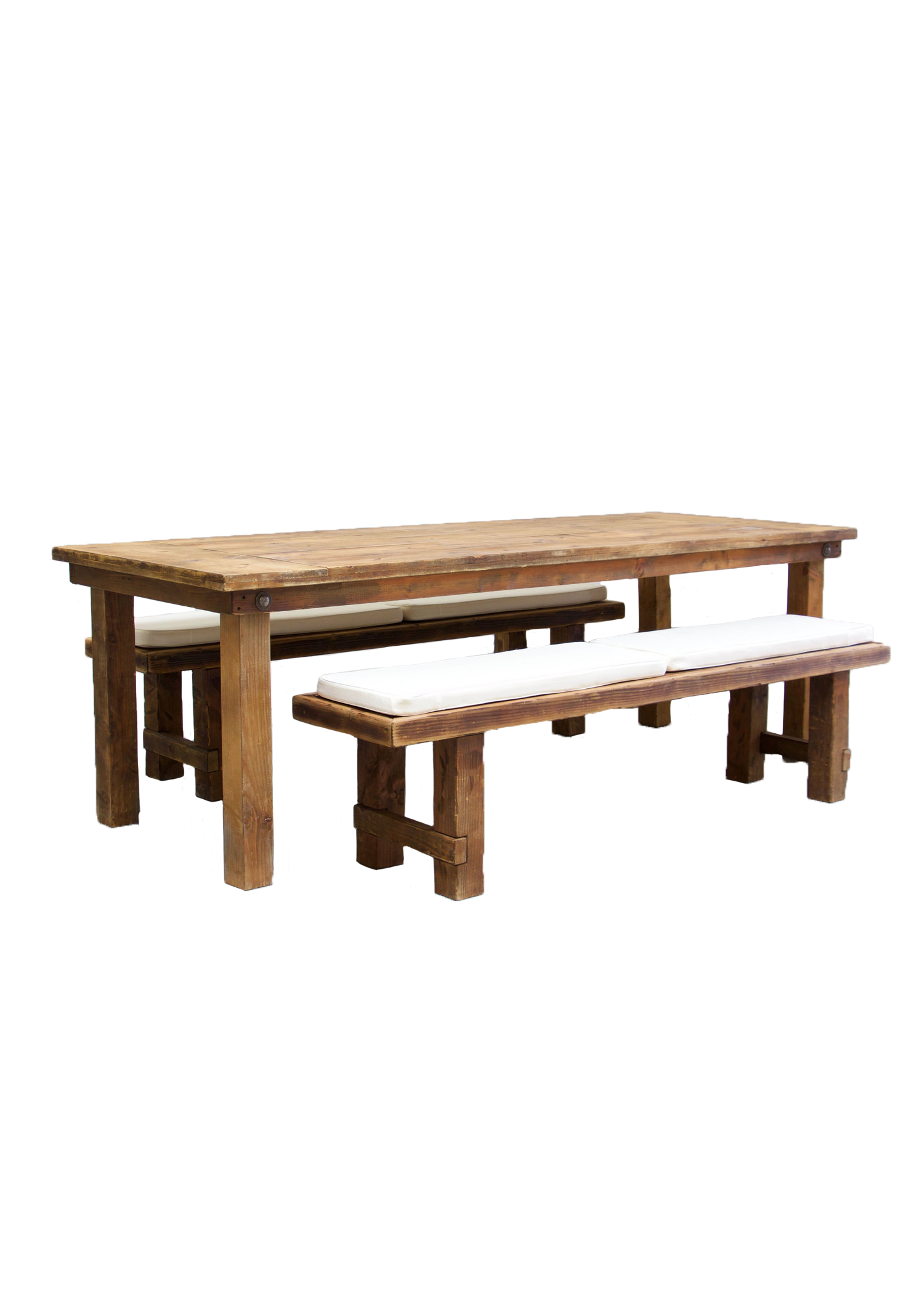 Honey Brown Farm Table with 2 Long Benches $145