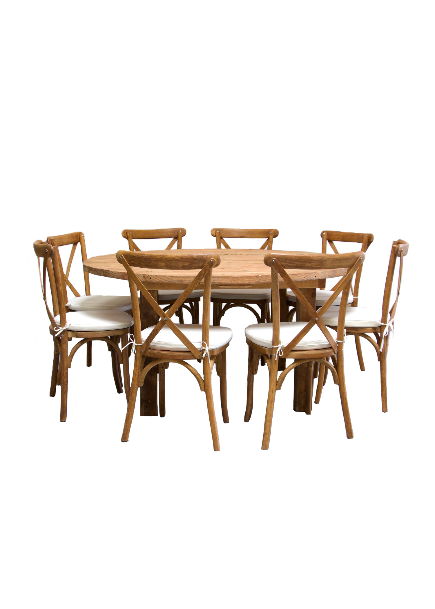 Round Honey Brown Farm Table with 8 Cross-Back Chairs $145