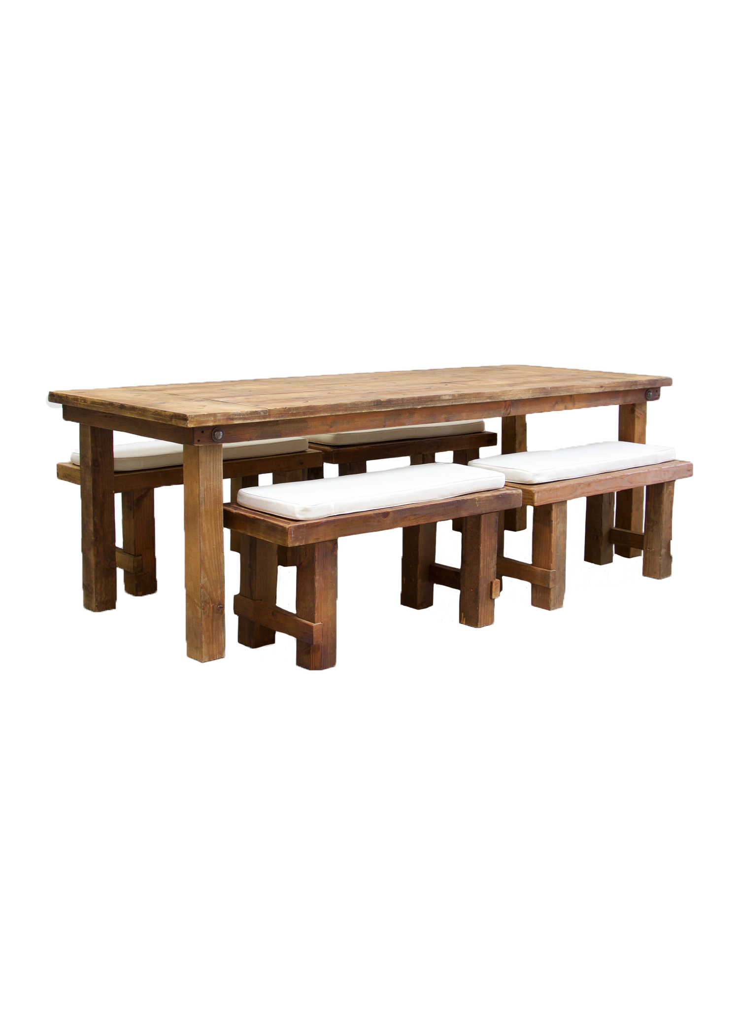 Honey Brown Farm Table with 4 Short Benches $145