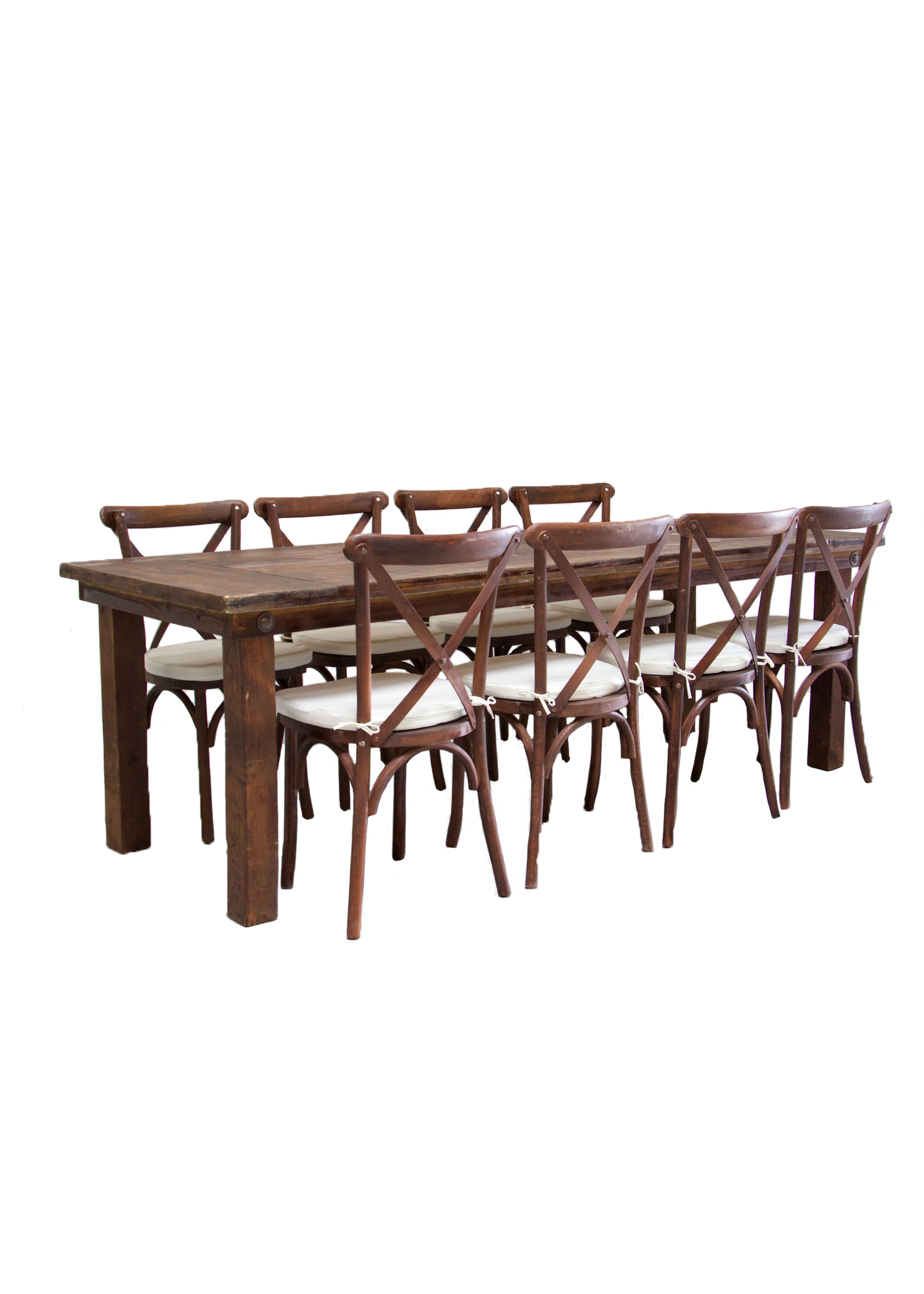 Mahogany Farm Table with 8 Cross-Back Chairs $145