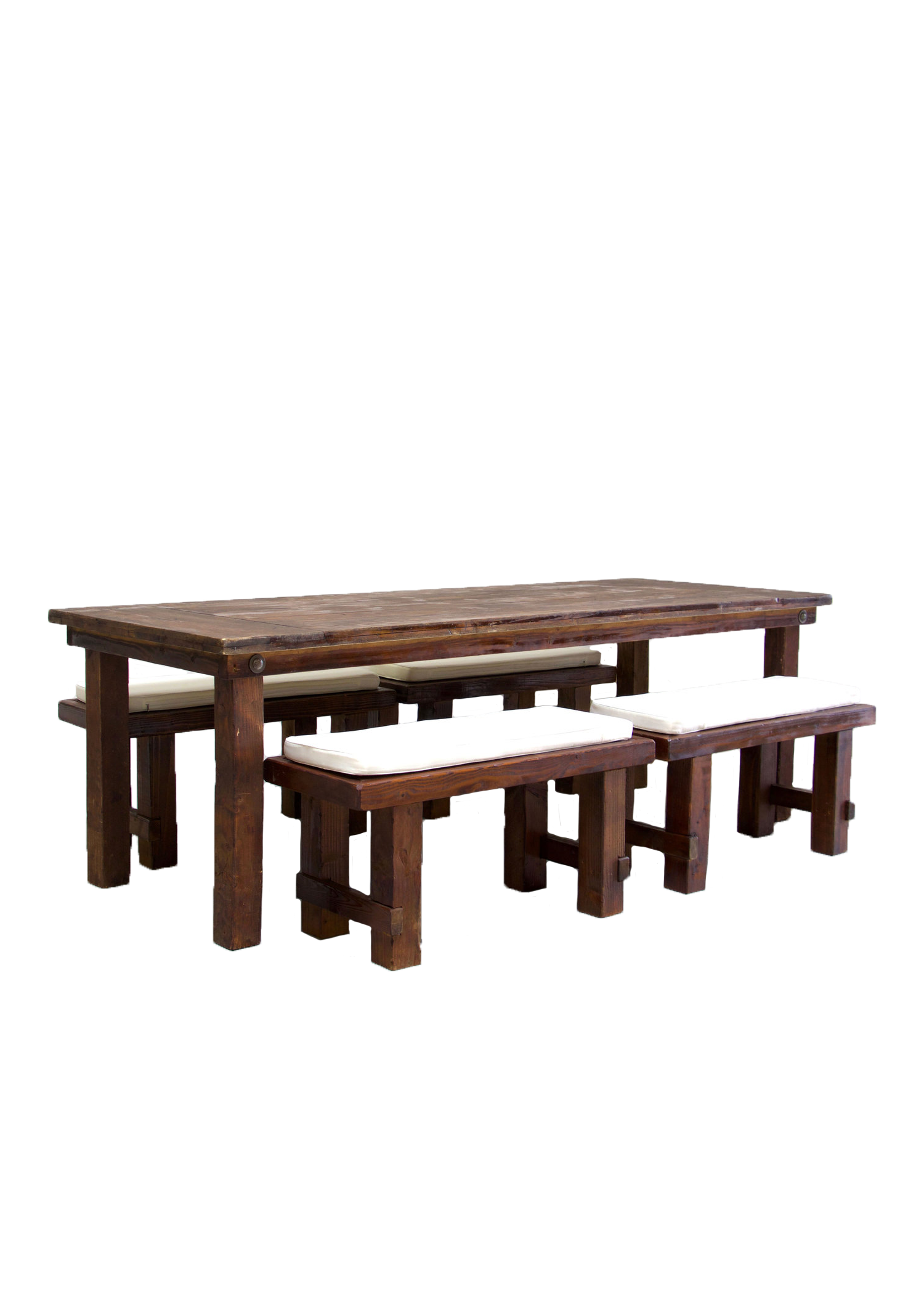Mahogany Farm Table with 4 Short Benches $145