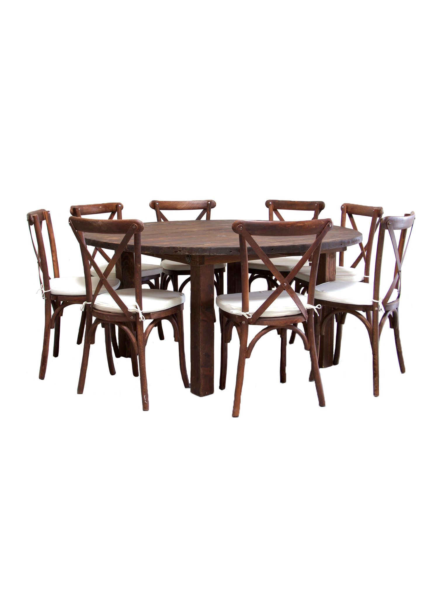 Mahogany Round Farm Table with 8 Cross-Back Chairs $145