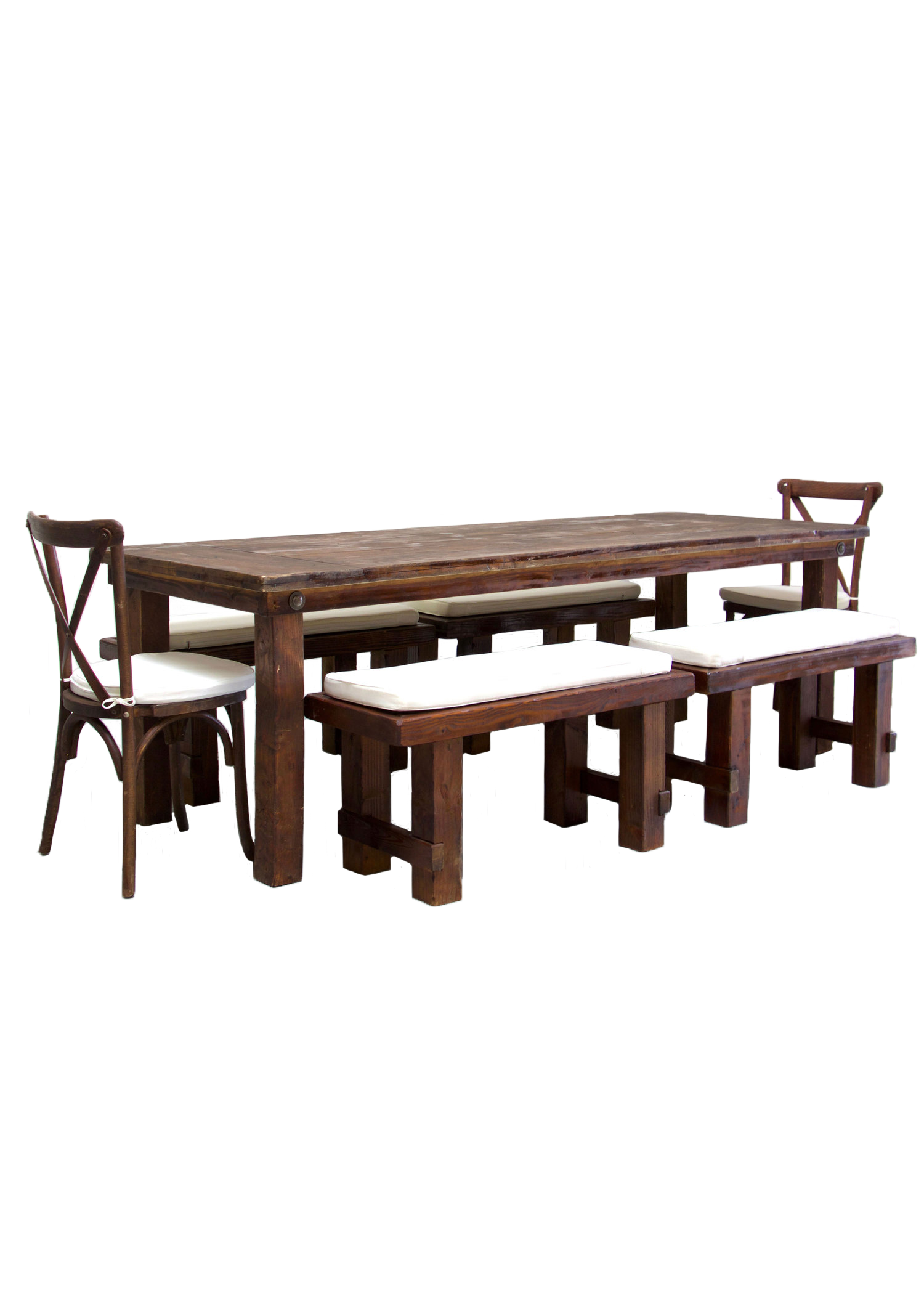 Mahogany Farm Table with 4 Short Benches & 2 Cross-Back Chairs $160