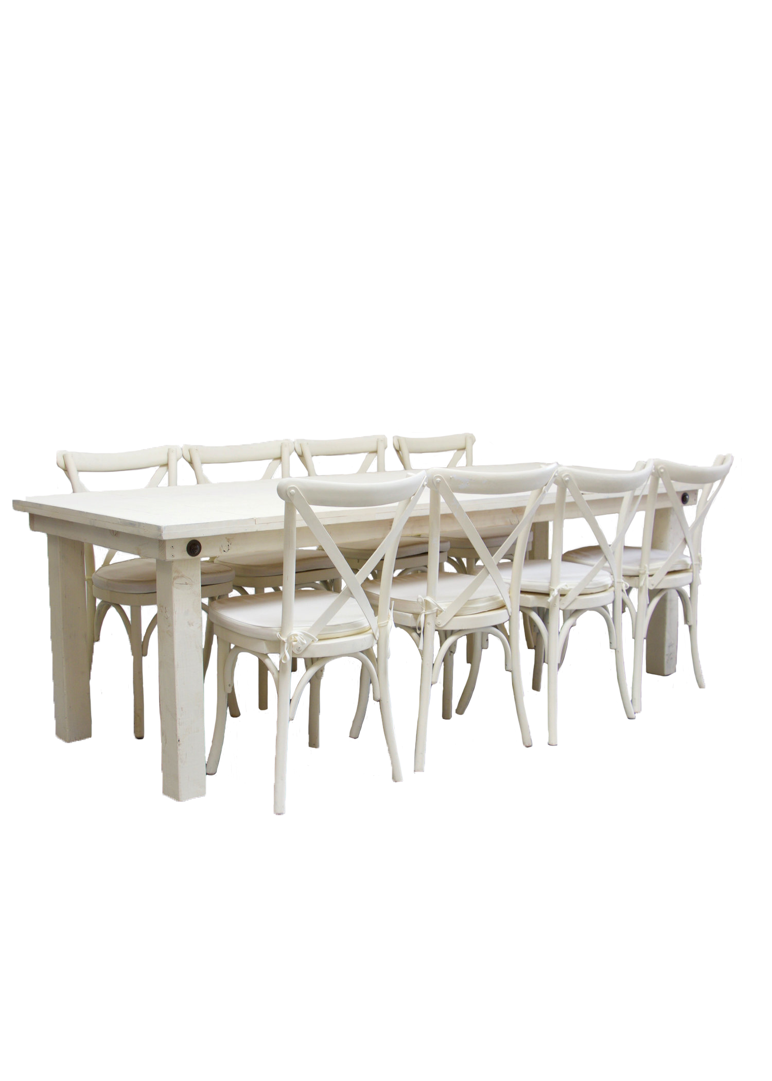 Vintage White Farm Table with 8 Cross-Back Chairs $145