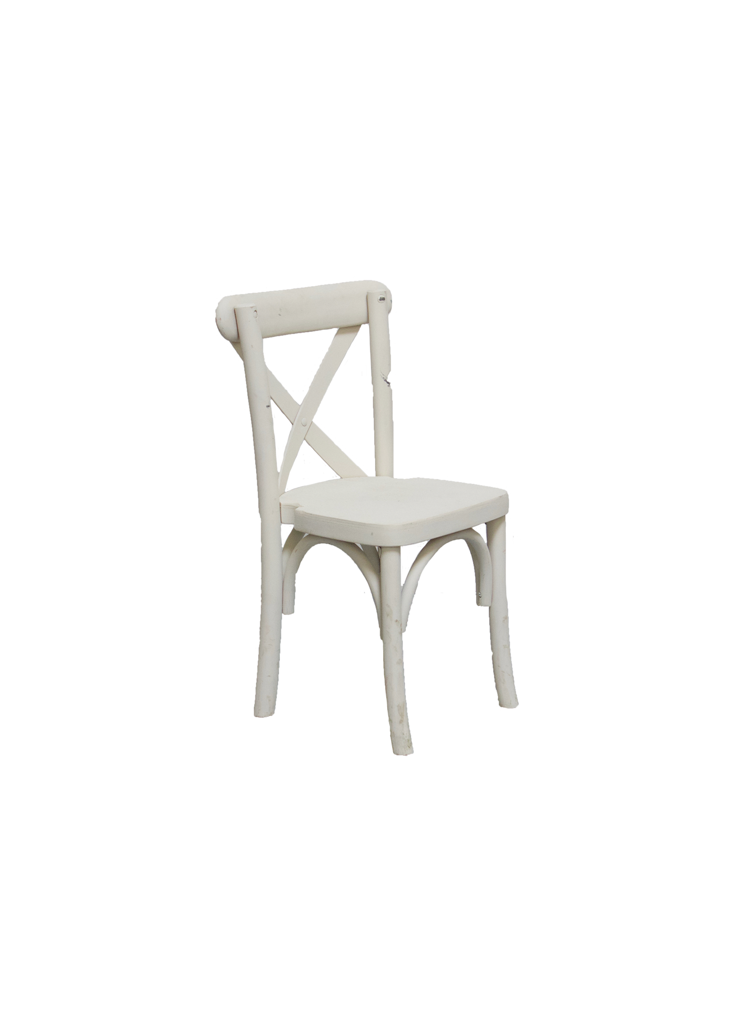 Kid's Vintage White Cross-Back Chair