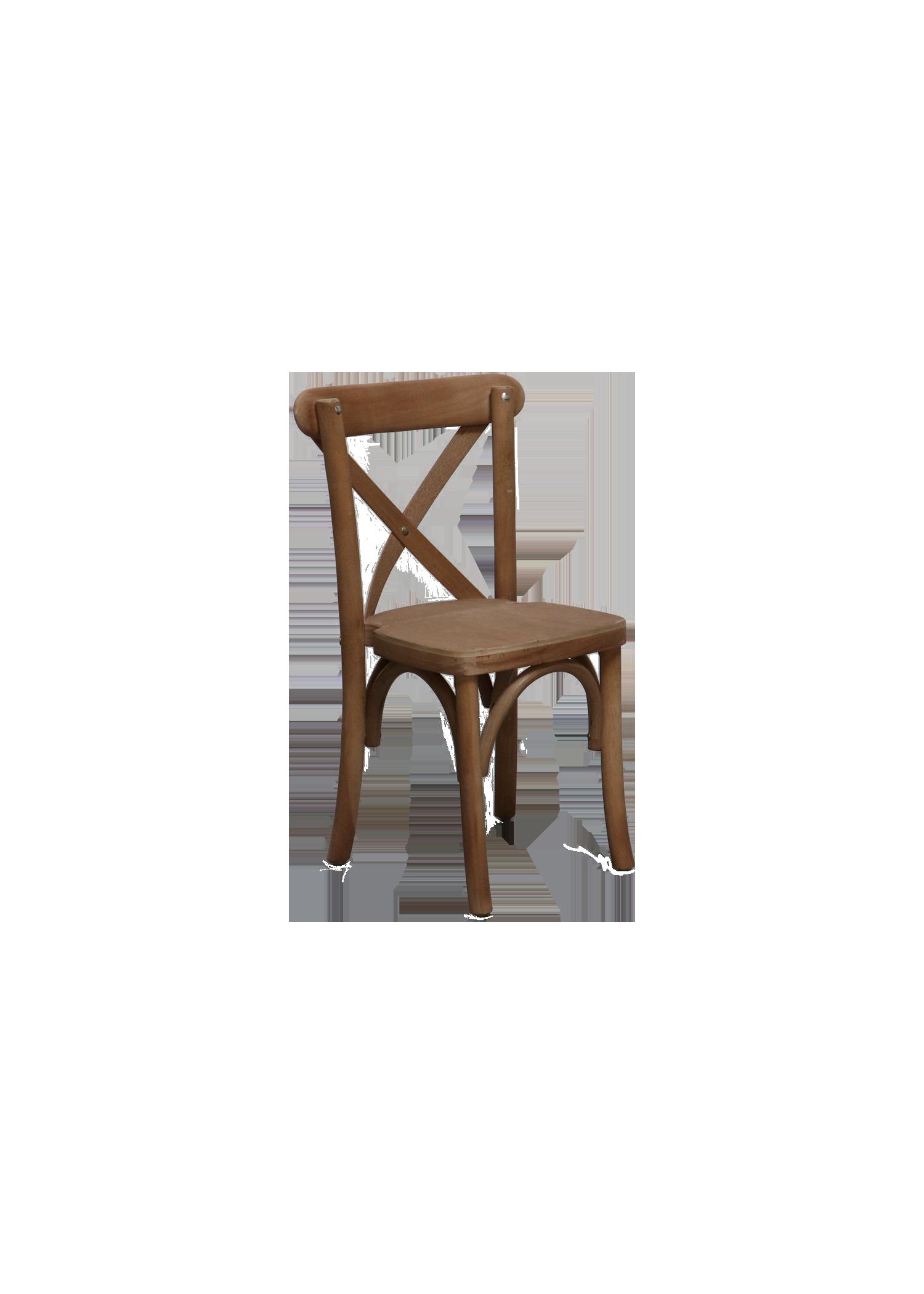 Kid's Honey Brown Cross-Back Chair