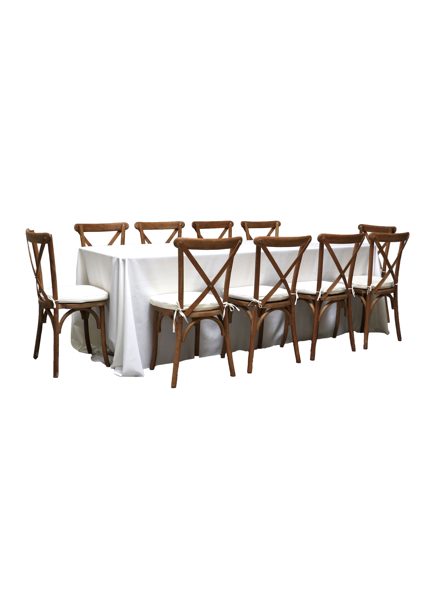 Banquet Table with 10 Honey Brown Cross-Back Chairs
