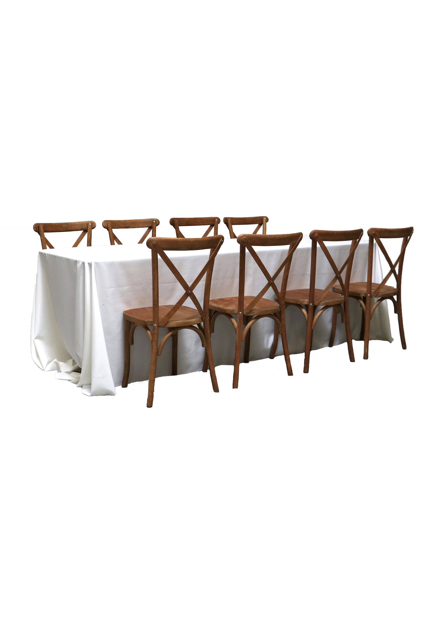 Banquet Table with 8 Honey Brown Cross-Back Chairs