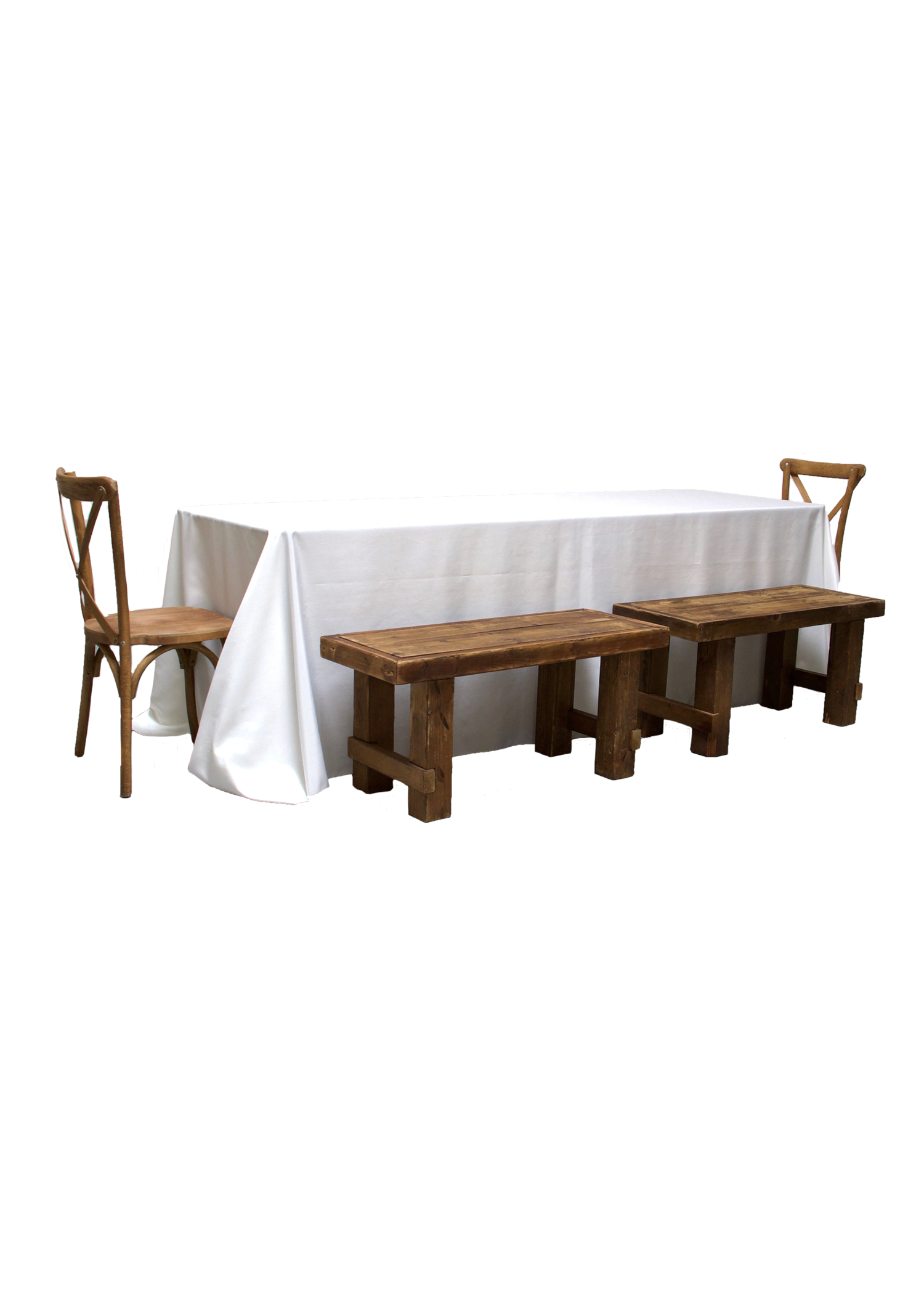 Banquet Table with 4 Honey Brown Short Benches & 2 Cross-Back Chairs