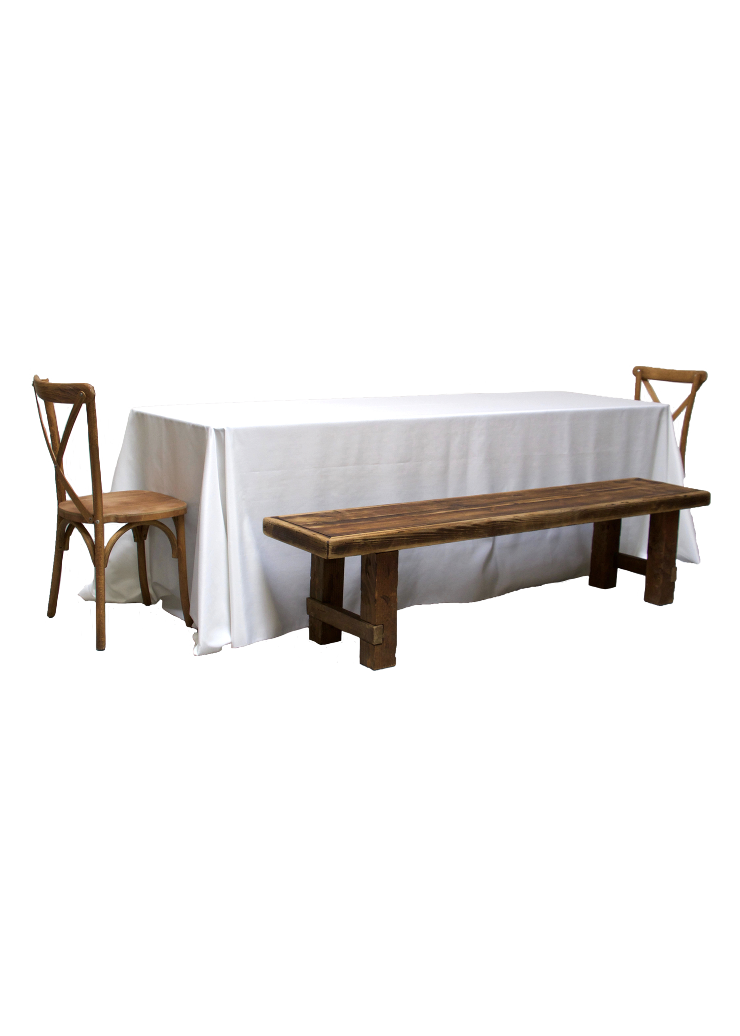 Banquet Table with 2 Honey Brown Long Benches & 2 Cross-Back Chairs
