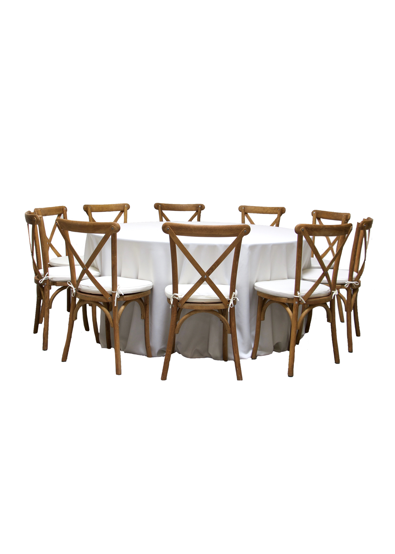 Round Banquet Table with 10 Honey Brown Cross-Back Chairs