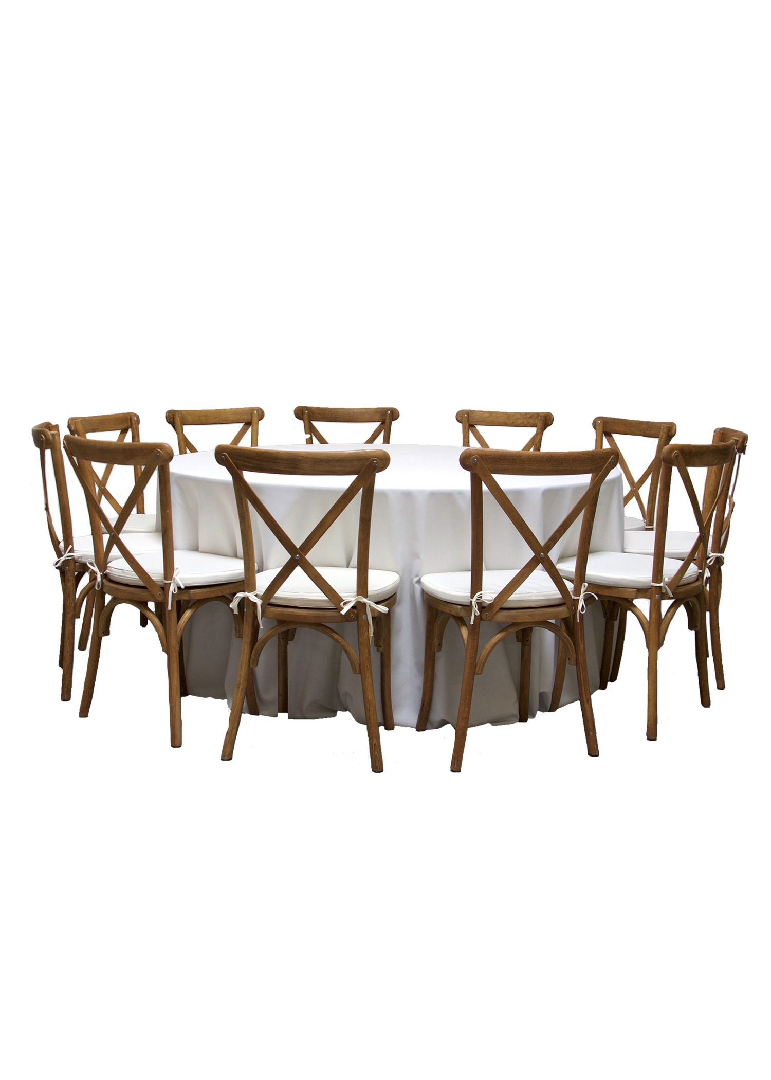 Round Banquet Table with 11 Honey Brown Cross-Back Chairs