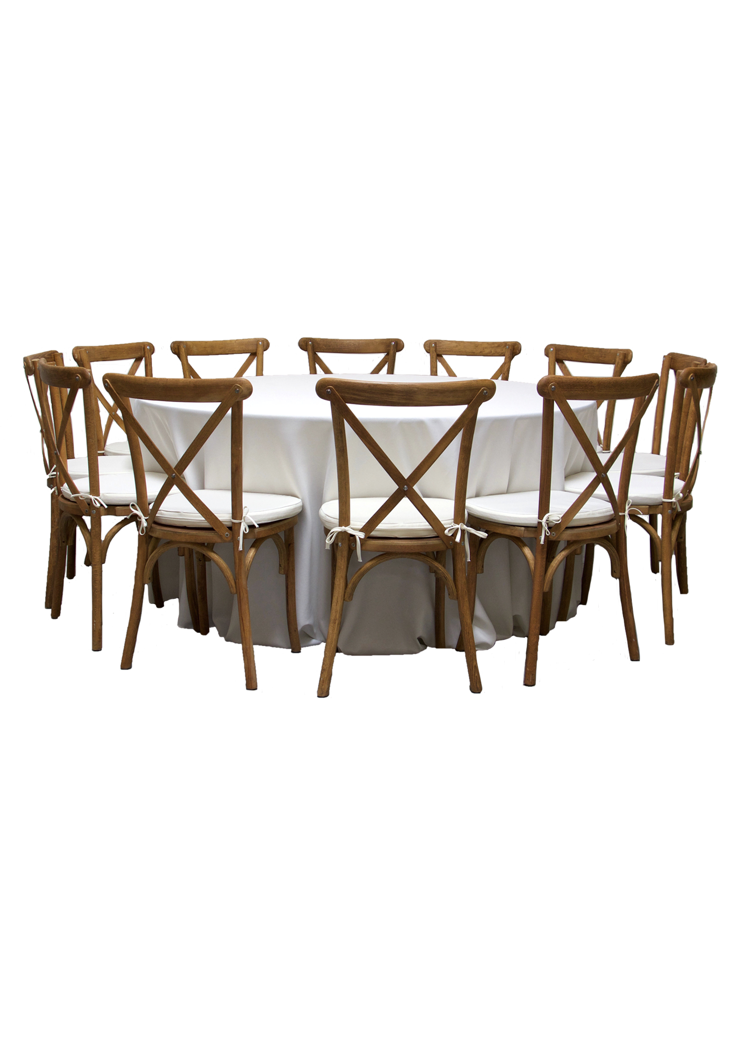 Round Banquet Table with 12 Honey Brown Cross-Back Chairs